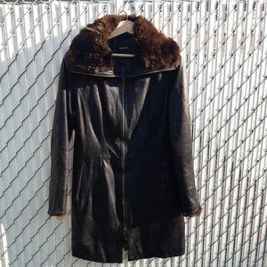 Danier leather x rabbit fur coat